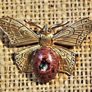 Boulder Opal Butterfly Brooch